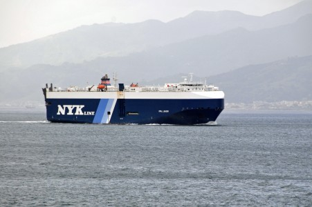 Car carrier Opal Leader transiting the Strait of Messina - 20 Oct. 2010