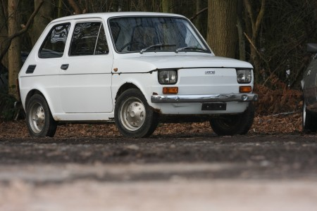 White left hand drive Fiat 126 produced in 1973