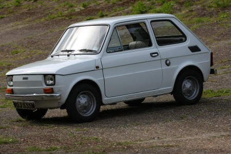 White left hand drive Fiat 126 produced in 1973 12