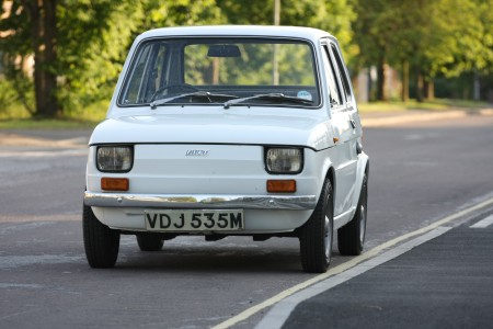 White left hand drive Fiat 126 produced in 1973 2