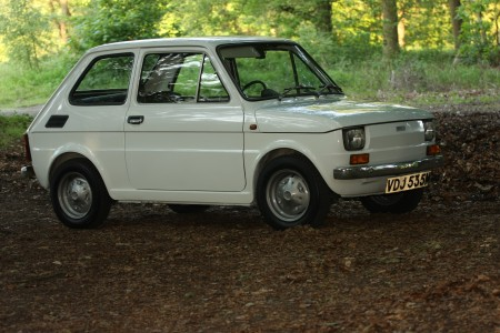 White left hand drive Fiat 126 produced in 1973 4