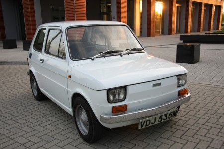 White left hand drive Fiat 126 produced in 1973 6