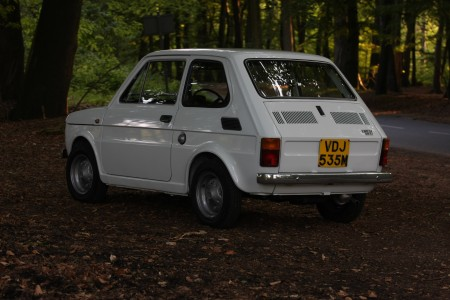 White left hand drive Fiat 126 produced in 1973 8