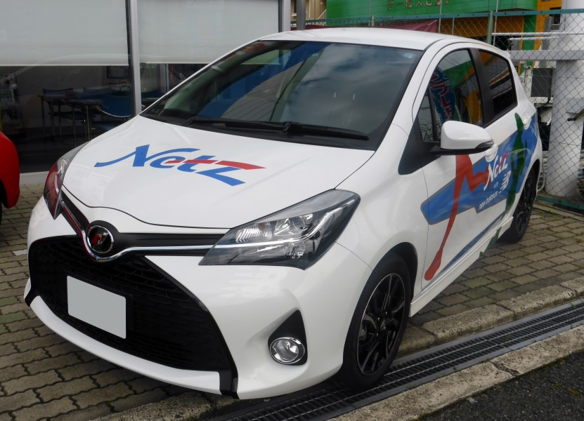 The frontview of Toyota Vitz 1.5RS (NCP131) Netz Toyota Nara with new balance