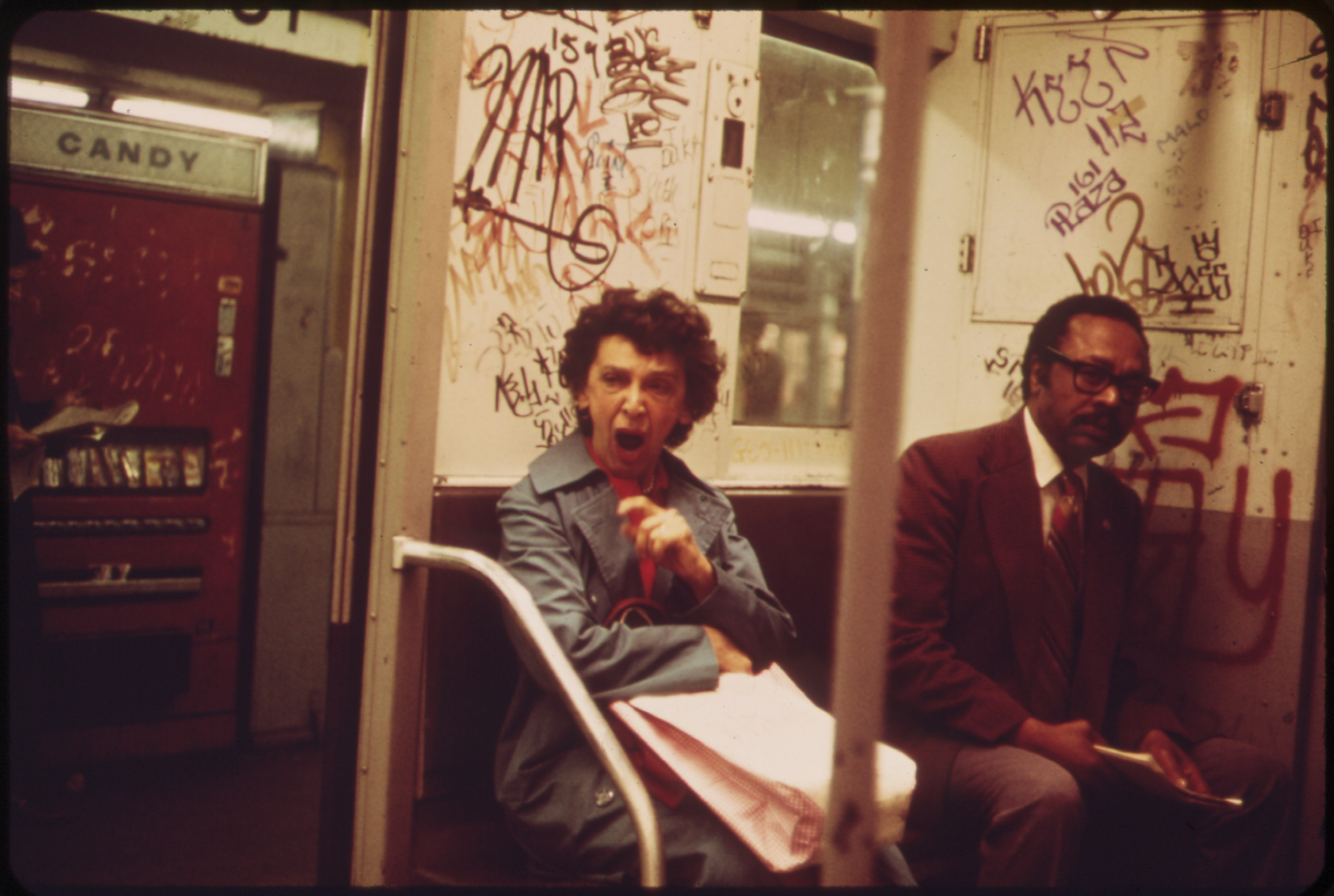 MANY SUBWAY CARS IN NEW YORK CITY HAVE BEEN SPRAY-PAINTED BY VANDALS - NARA - 548260