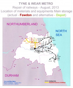 Tyne and Wear Metro repairs of railways – August, 2013 – Location of material and equipment Main storage