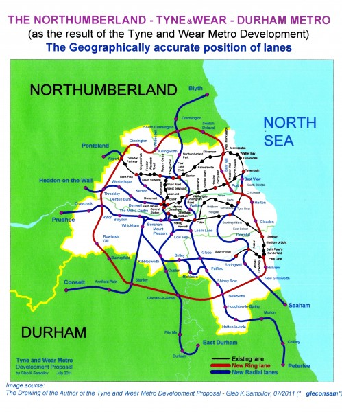 The Geographically accurate position of NORTHUMBERLAND - TYNE and WEAR  - DURHAM METRO lanes