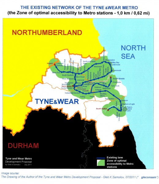 TYNE and WEAR METRO - the Zone of Optimal accessibility of existing Metro Network
