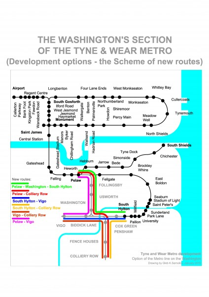 The Washington's section of the Tyne & Wear metro (the Scheme of new routes)