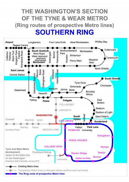 THE SOUTHERN RING - Ring route of prospective Tyne and Wear Metro lines at the Washington's section