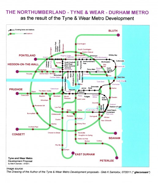 Northumberland - Tyne&Wear - Durham Metro as the result of the Tyne and Wear Metro Development