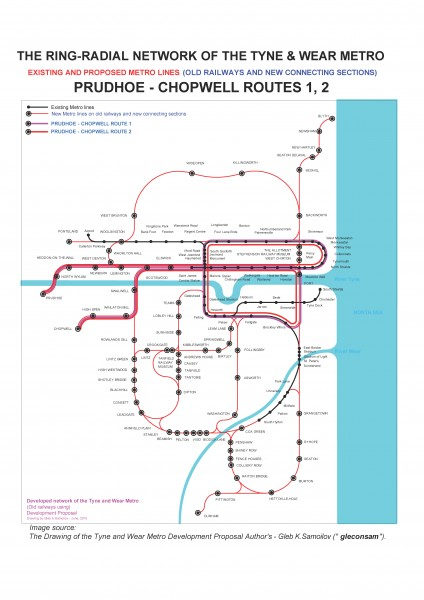 PRUDHOE ~ CHOPWELL routes 1 and 2 of the Tyne and Wear Metro Ring-Radial network