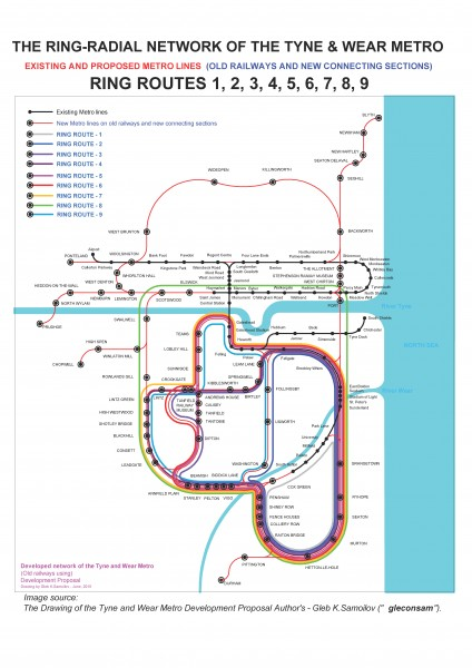 the Ring-Radial network of the Tyne and Wear Metro – ring routes 1 - 9