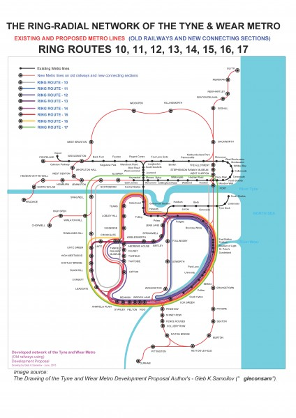 the Ring-Radial network of the Tyne and Wear Metro – ring routes 10 - 17