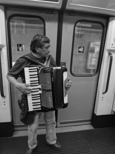 A musician on a subway in Madrid, Spain '