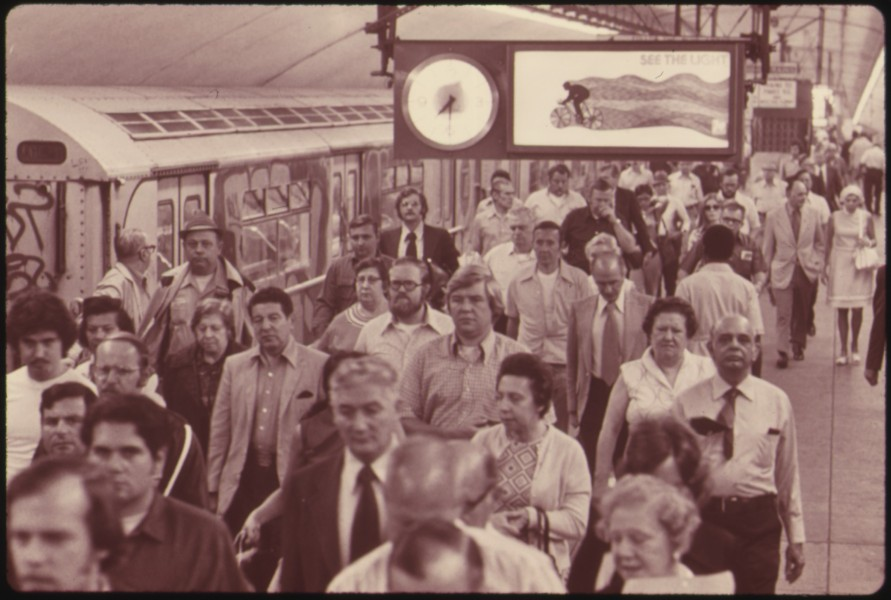 PASSENGERS LEAVING THE NEW YORK CITY TRANSIT AUTHORITY SUBWAY SYSTEM. THE SYSTEM IS OF CRUCIAL IMPORTANCE TO THE... - NARA - 556823