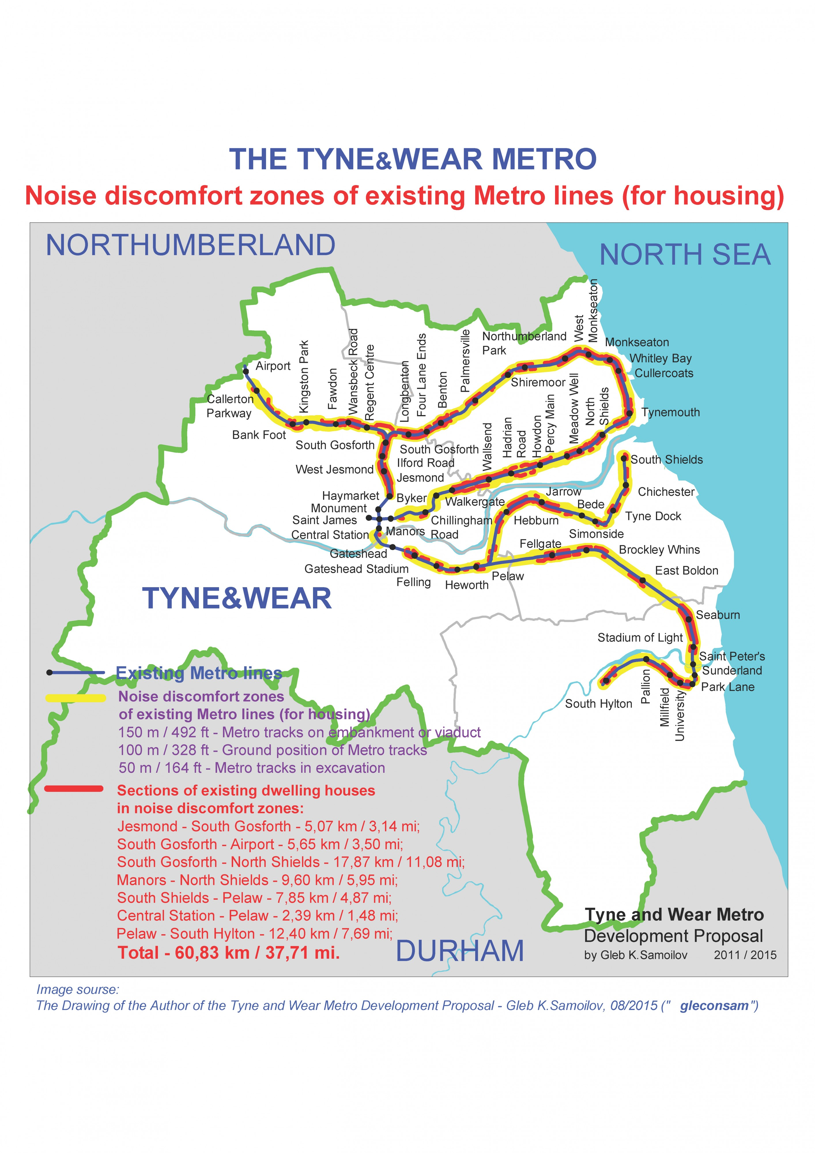 Noise discomfort zones of existing Tyne and Wear Metro lines for housing