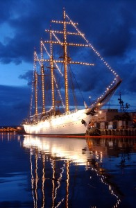 US Navy 040517-N-3019M-004 The Chilean Tall Ship Esmeralda sits in Pearl Harbor at sunset, while on a four-day port visit before heading to Japan