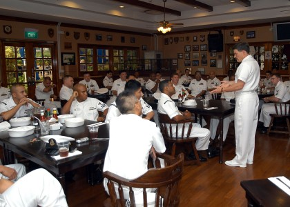 US Navy 050429-N-4205W-001 Master Chief Petty Officer of the Navy Terry Scott addresses Sailors stationed in Singapore