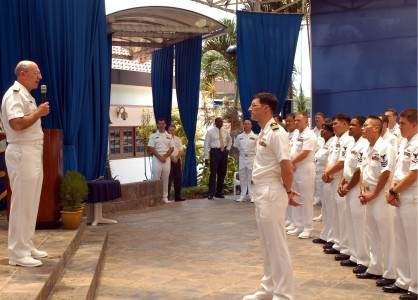 US Navy 050429-N-4205W-004 Chief of Naval Operations Adm. Vern Clark speaks to Sailors stationed in Singapore