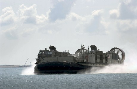 US Navy 060602-N-9851B-010 Landing Craft Air Cushion Seven Three (LCAC 73) makes it's way to Sudong Island to conduct a landing