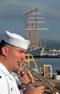 US Navy 071004-N-0879R-011 A Sailor from U.S. Pacific Fleet Band plays as Chilean tall ship Esmeralda (BE 43) makes her way pierside to Naval Station Pearl Harbor
