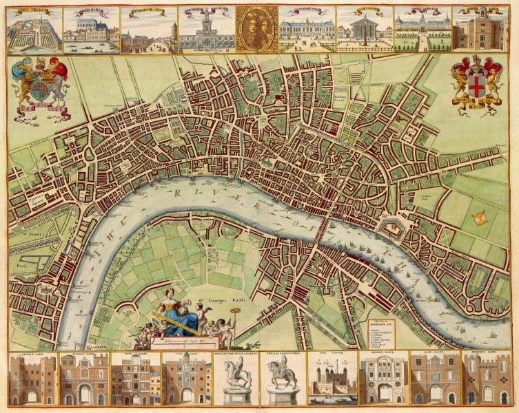 17th century map of London (W.Hollar)