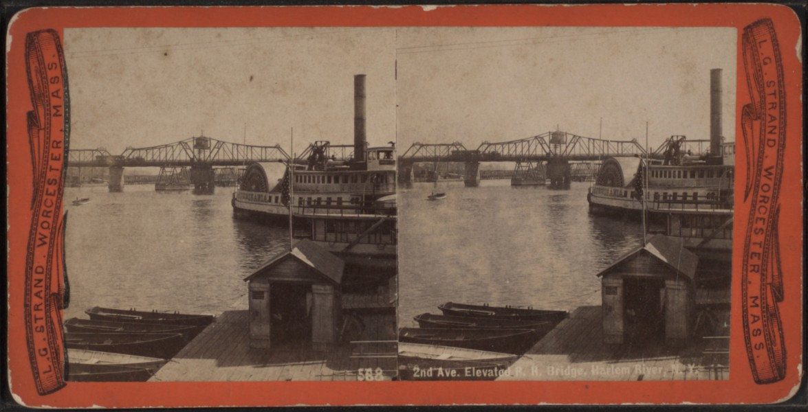 2nd Avenue Elevator & Bridge, Harlem River, N.Y, from Robert N. Dennis collection of stereoscopic views