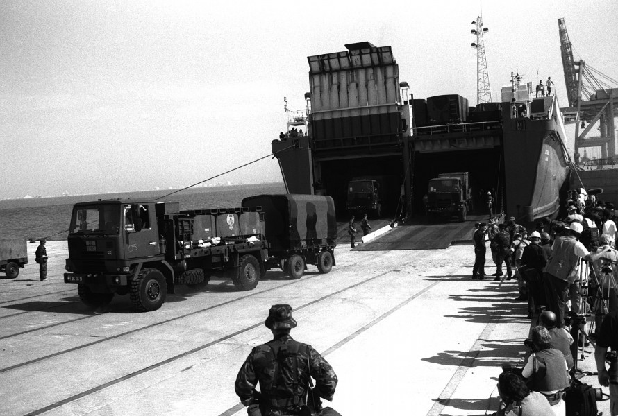 A British Bedford TM 4-4 4x4 truck leaves the Danish cargo ship Dana Cimbria during Operation Desert Shield