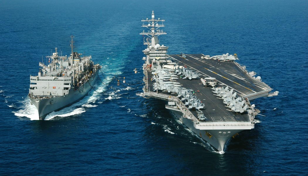 Aircraft carrier at underway replenishment