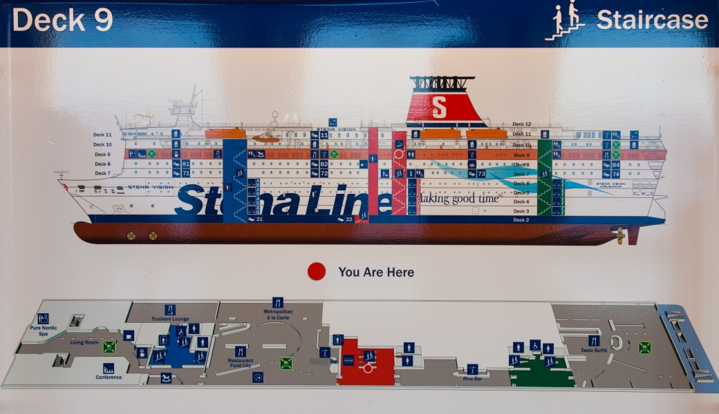 deck 9 scheme of a Stena Line ferry, Baltic sea, June 2014