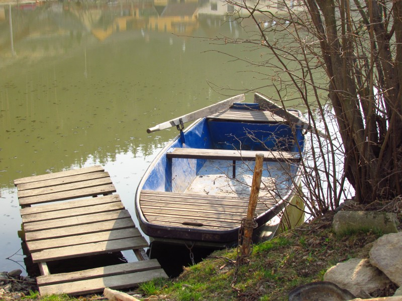 Boat at Dolní pond in Pokojovice, Třebíč District