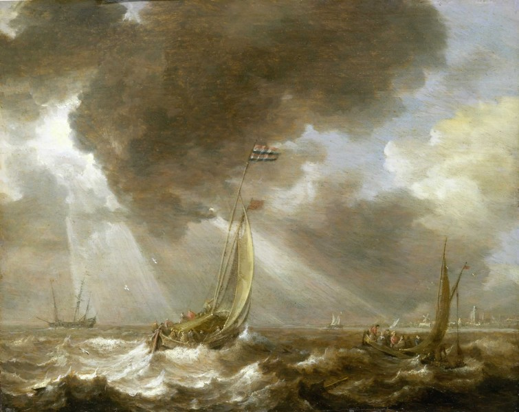 Bonaventura Peeters, the Elder - Dutch Ferry Boats in a Fresh Breeze