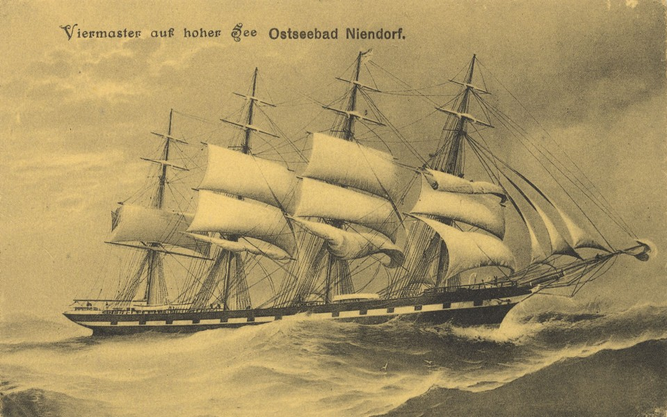 British four-masted and full-rigged ship