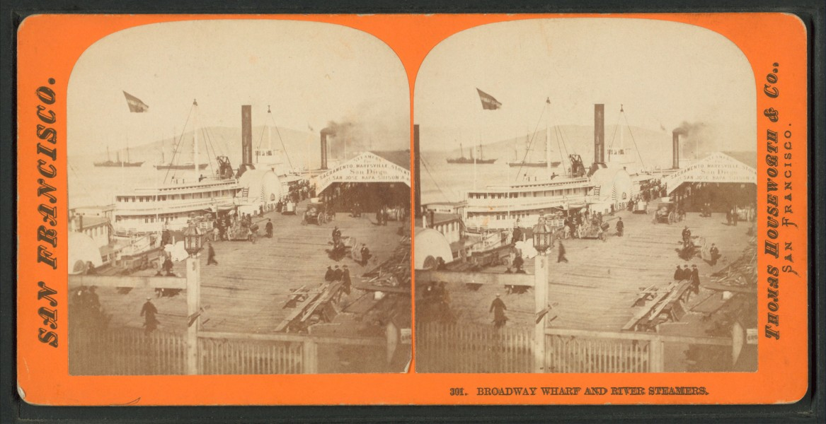 Broadway Wharf and River Steamers, by Thomas Houseworth & Co.