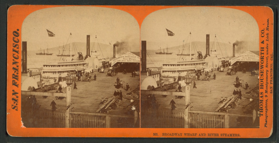 Broadway Wharf and River Steamers, by Thomas Houseworth & Co. 2