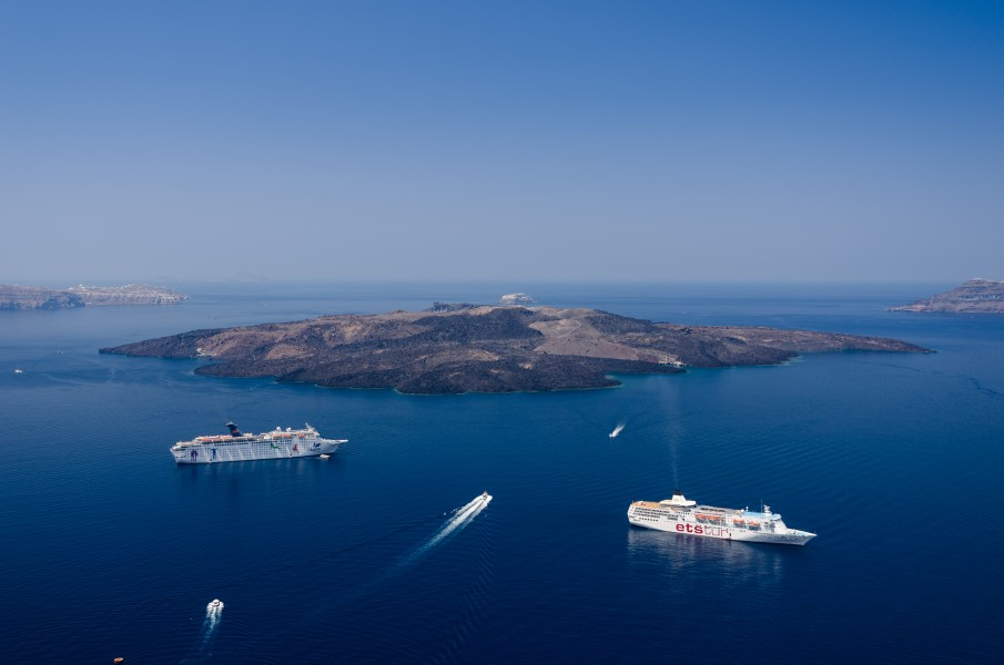 Caldera of Santorini - Nea Kameni - seen from Fira Thira