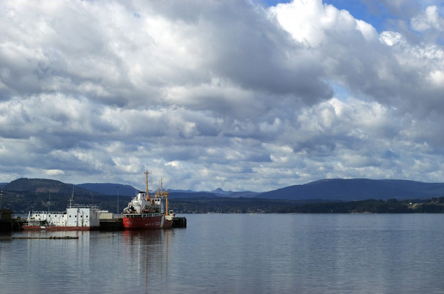 Canadian Coast Guard vessel moored in North Saanich, Vancouver Island, British Columbia
