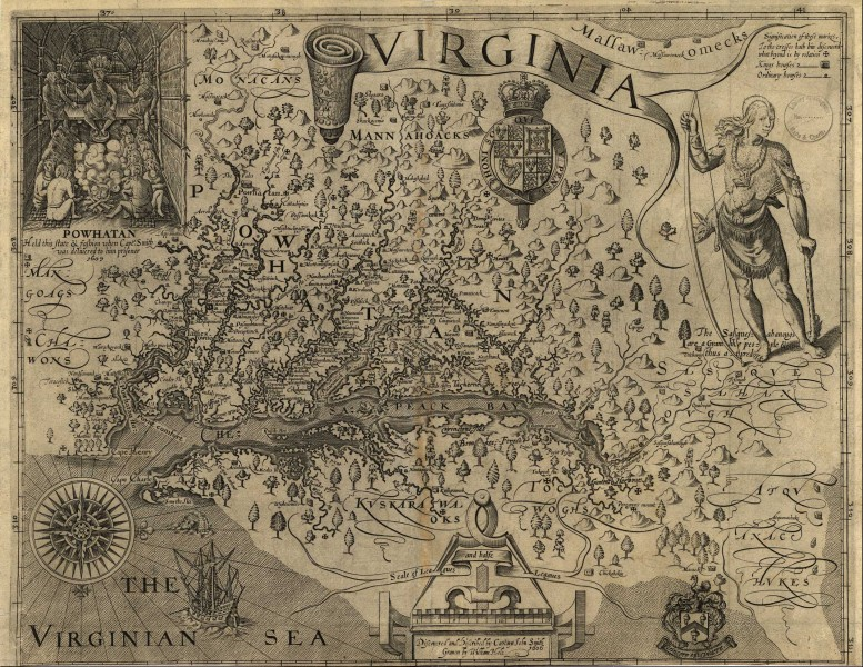 Capt John Smith's map of Virginia 1624