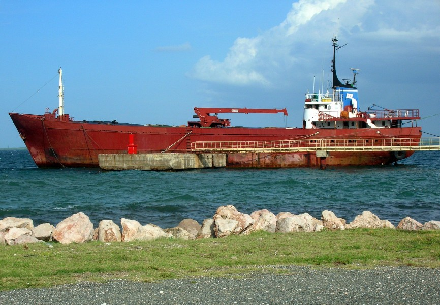 Cargo ship ready for scrapping