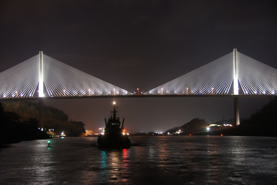 Centennial Bridge in Panama at night