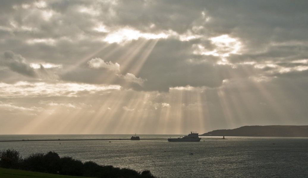 Crepuscular rays over Plymouth Sound