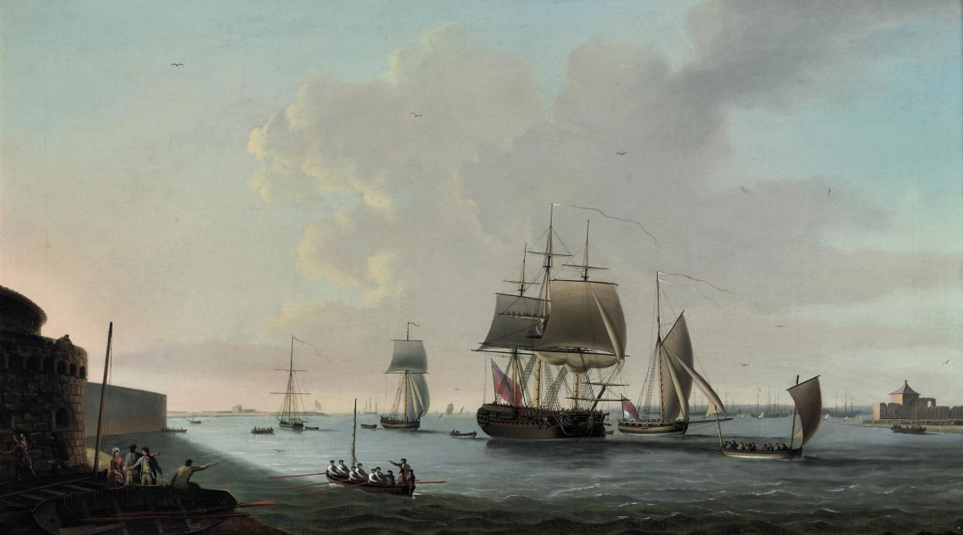Dominic Serres - An English frigate running into Portsmouth harbour