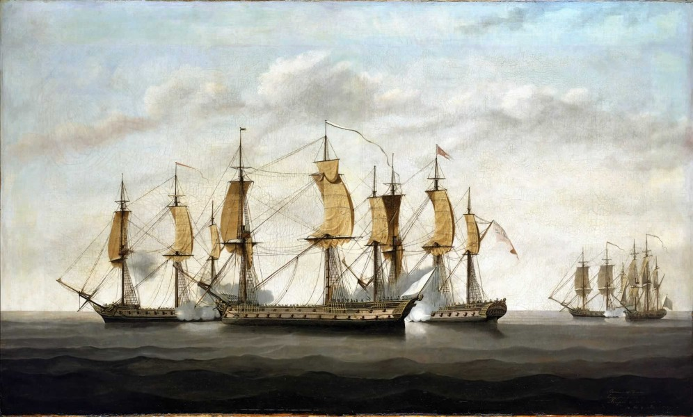 Engagement between three East Indiamen and two French vessels, 8 March 1757