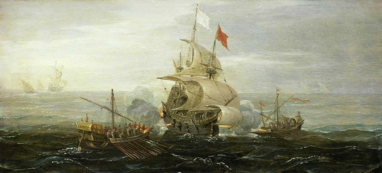 French ship under atack by barbary pirates