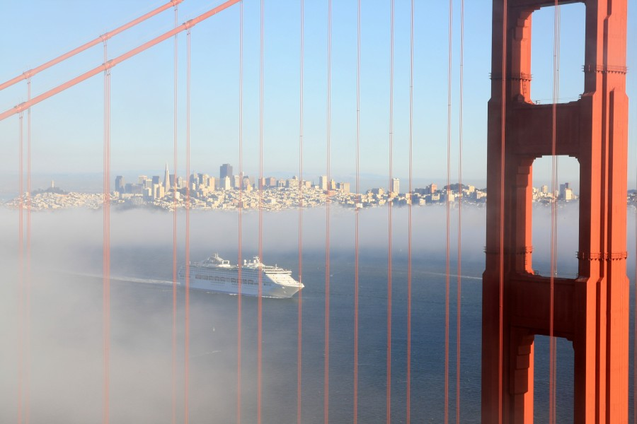 Golden Gate Bridge and San Francisco and cruise ship