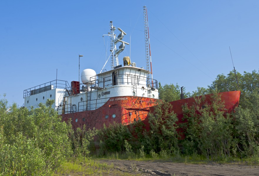 GSI Mariner beached on banks of the Mackenzie River, Inuvik, NT