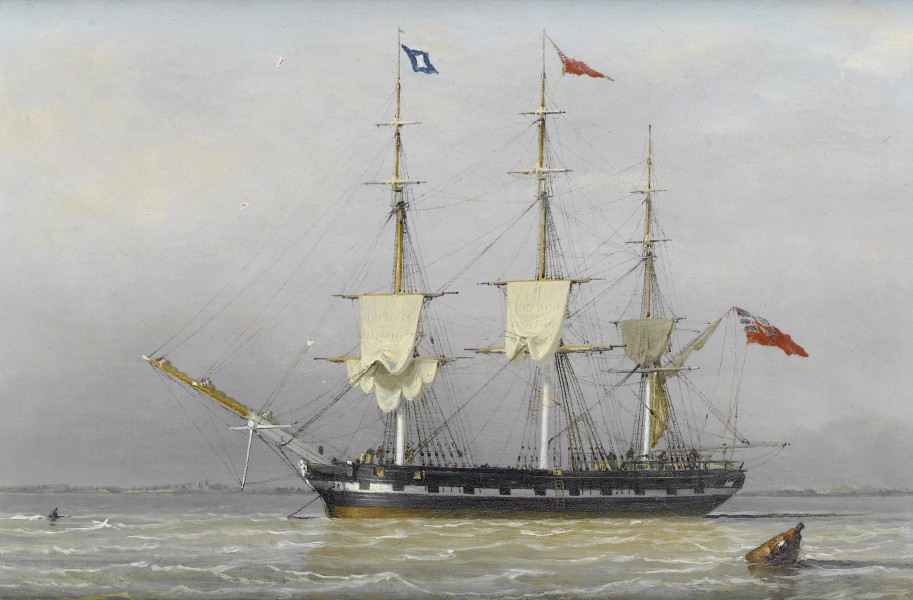 John Ward of Hull - A three-masted merchantman anchored in the Humber...etc