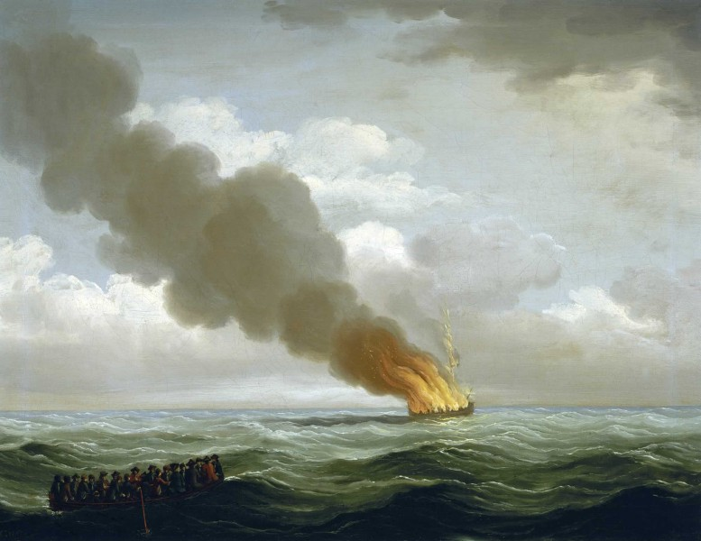 Luxborough galley burnt nearly to the water, 25 June 1727