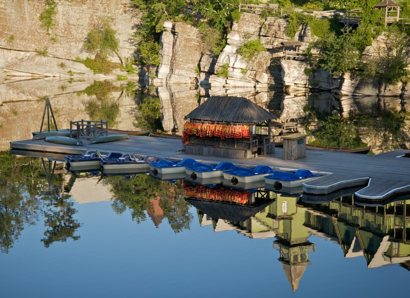 Mohonk Mountain House 2011 Boat Dock Against Reflection of Cliff FRD 3029